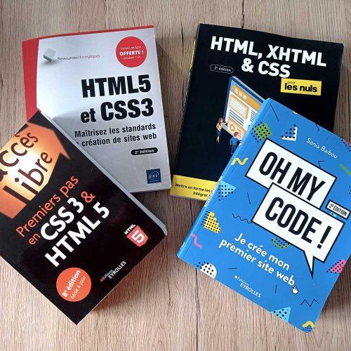 Des couvertures de livres sur le CSS et HTML