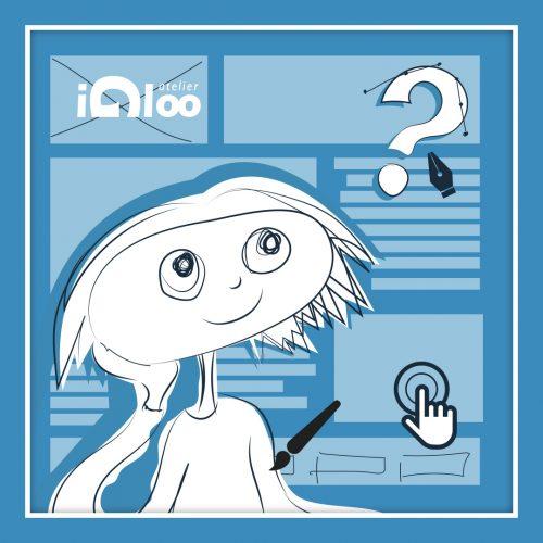 Illustration d'un personnage, pensif, et évoquant le graphisme, l'UI et l'UX